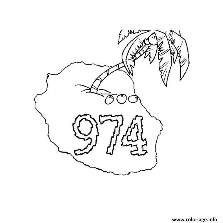 Coloriage Palmier Seul Avec Le Chiffre 974 Jecolorie Com