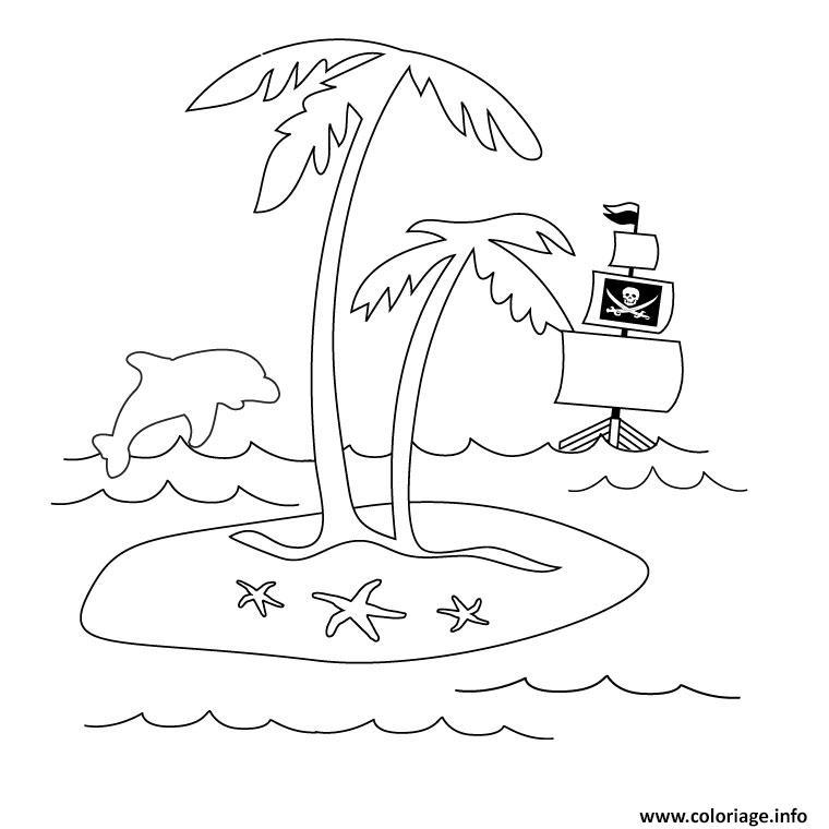 Coloriage palmier dauphin et bateau - Palmier dessin ...