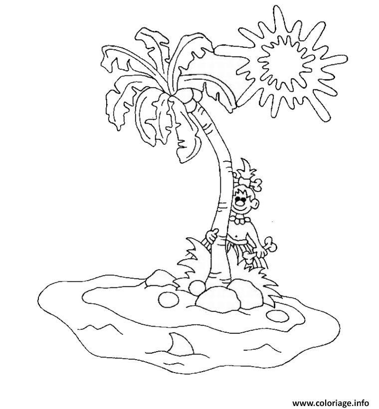 Coloriage palmier ile palmier plage - Coloriage de plage ...