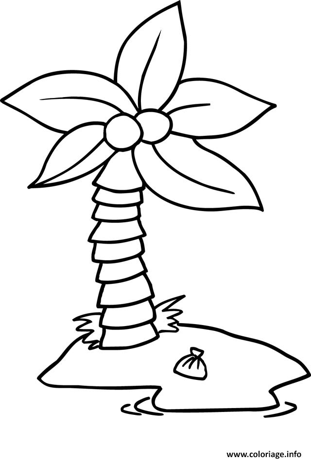 Coloriage palmier simple enfant dessin - Dessin enfant a colorier ...