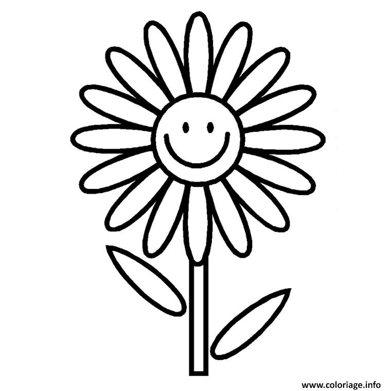 Coloriage fleur simple dessin - Coloriage fleur a imprimer ...