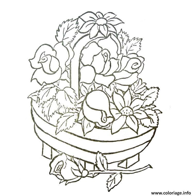 Coloriage panier de fleurs dessin - Coloriage de fleur ...