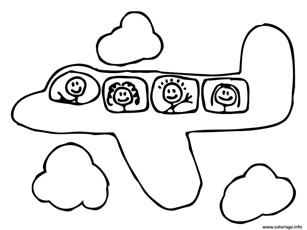 Coloriage Dans L Avion: Coloriage Avion 4 Dessin