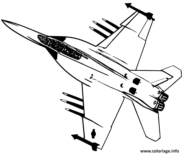 Coloriage avion de chasse 27 - Dessin de avion ...