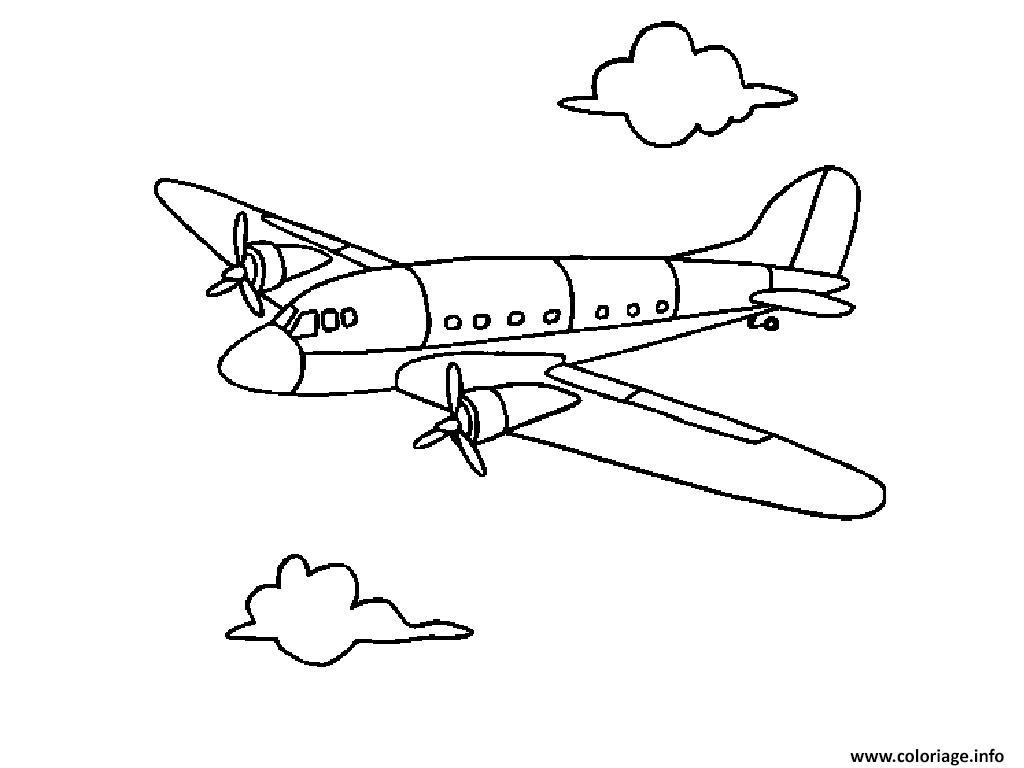 Coloriage Avion Facile Enfants Dessin