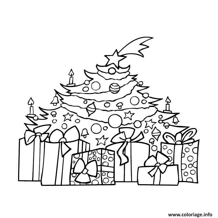 Coloriage sapin noel et cadeaux dessin - Coloriage d un sapin de noel ...