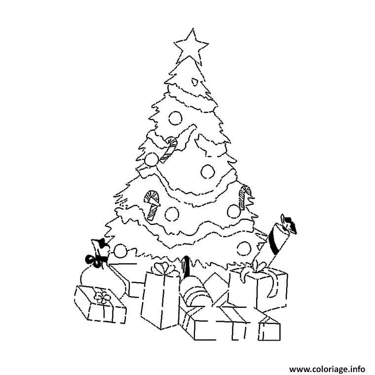 Coloriage Sapin Noel Cadeaux Dessin