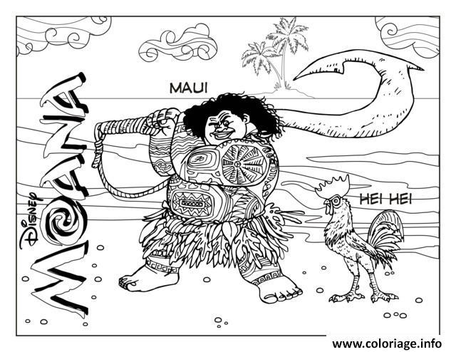 Dessin Maui et Hei Hei Coloriage Gratuit à Imprimer