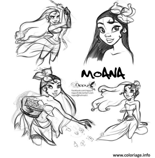 coloriage vaiana moana disney fan art