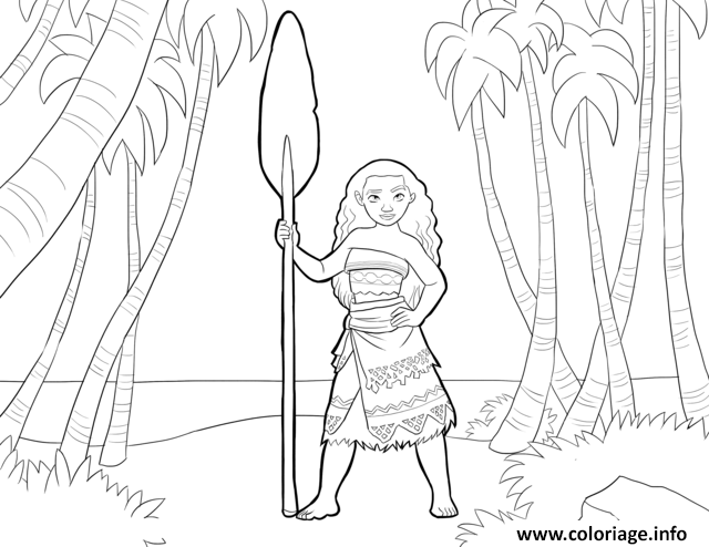 Dessin vaiana moana disney in the forest Coloriage Gratuit à Imprimer