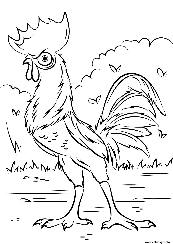 Dessin heihei rooster de vaiana moana disney Coloriage Gratuit à Imprimer