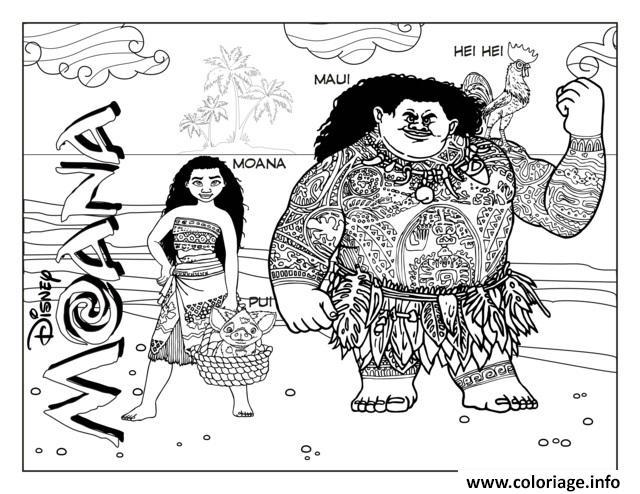 Dessin vaiana moana et Maui disney Coloriage Gratuit à Imprimer