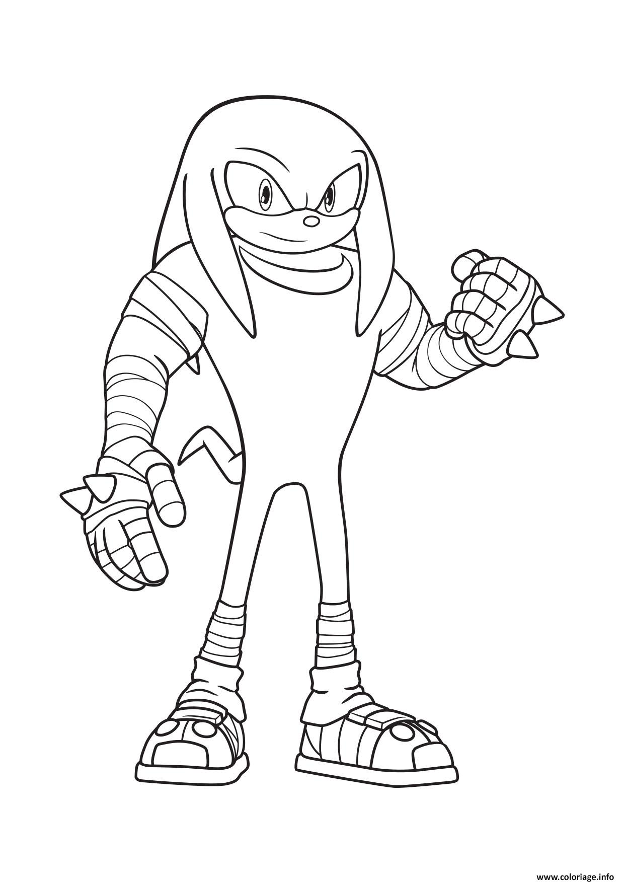 sonic knukles coloriage dessin