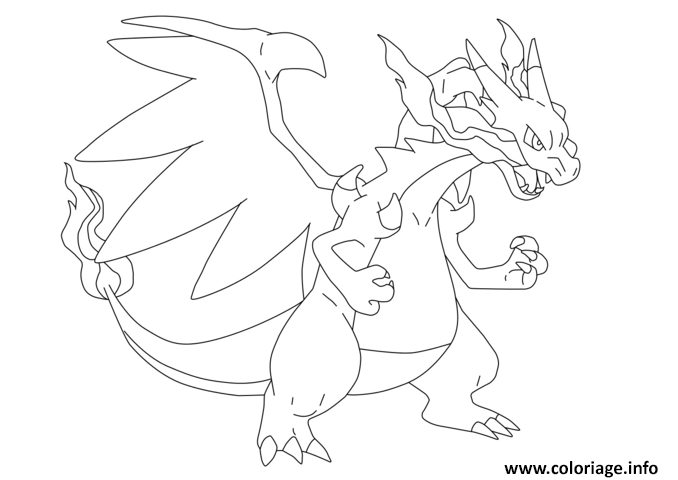 Coloriage mega dracaufeu ex pokemon dessin - Coloriage carte pokemon ...