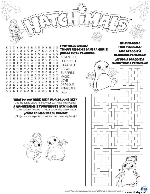 Coloriage hatchimals mot croise jeux dessin - Jeux de dessin coloriage ...