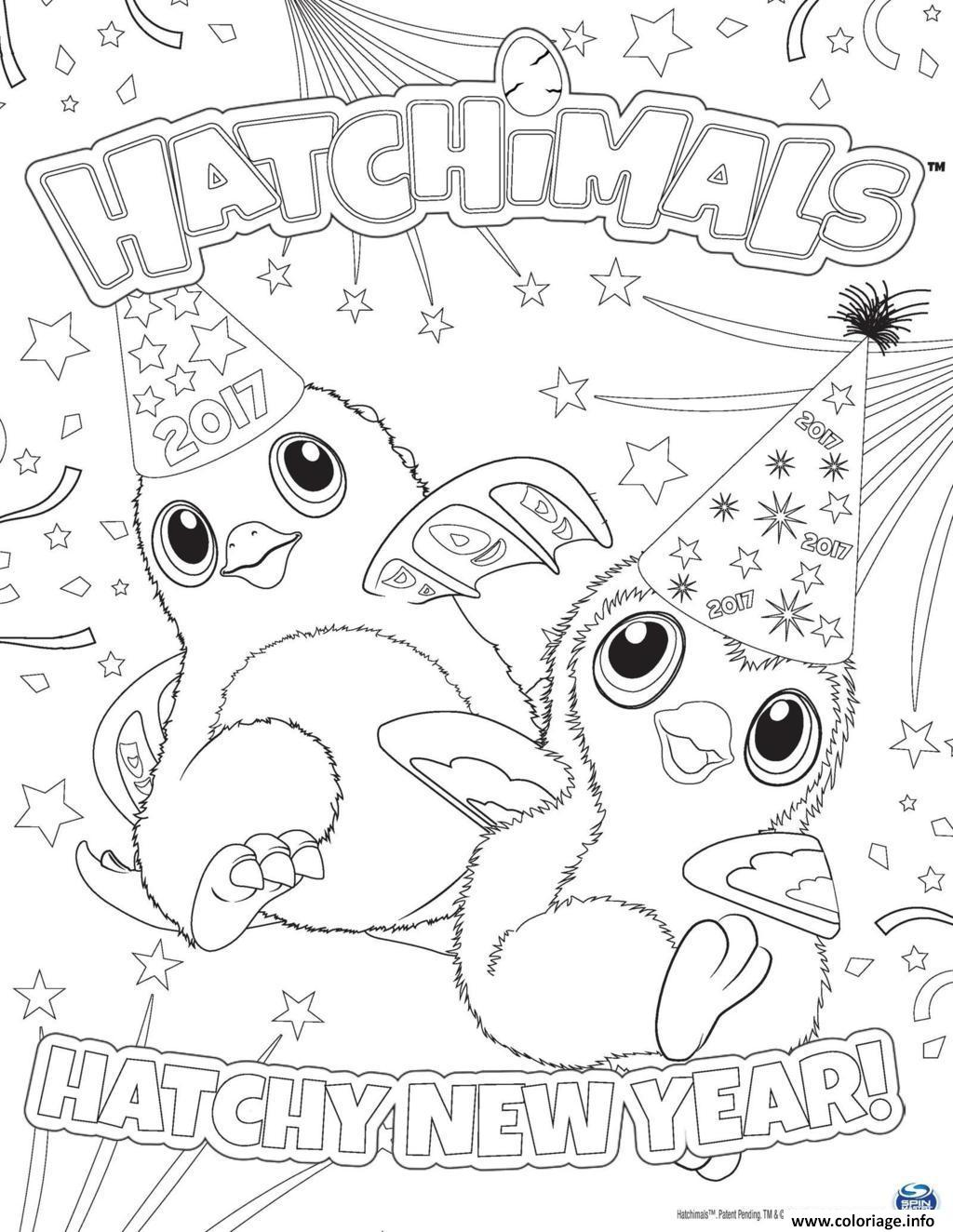 Coloriage Hatchimals Nouvel An 2017 Hatchy Jecolorie Com