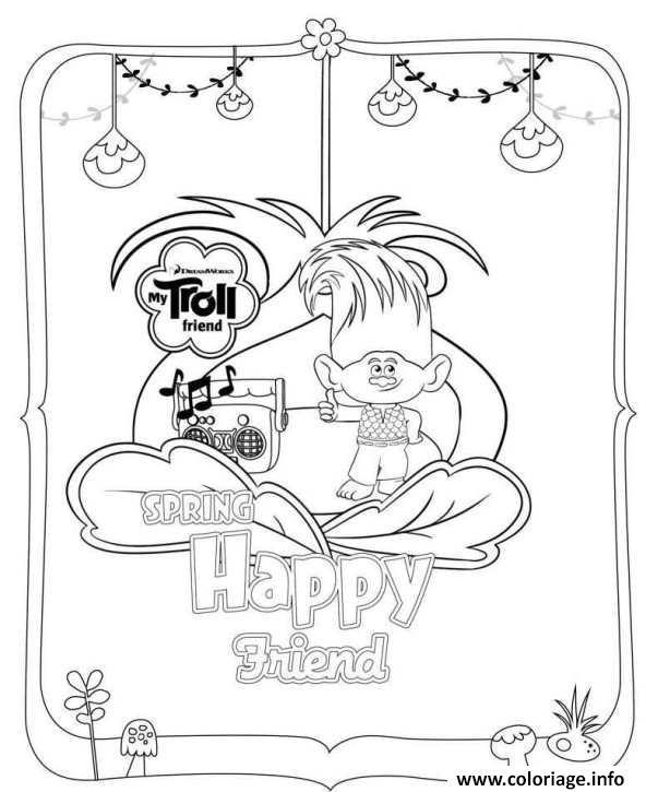 coloriage trolls movie 2016 spring happy friend