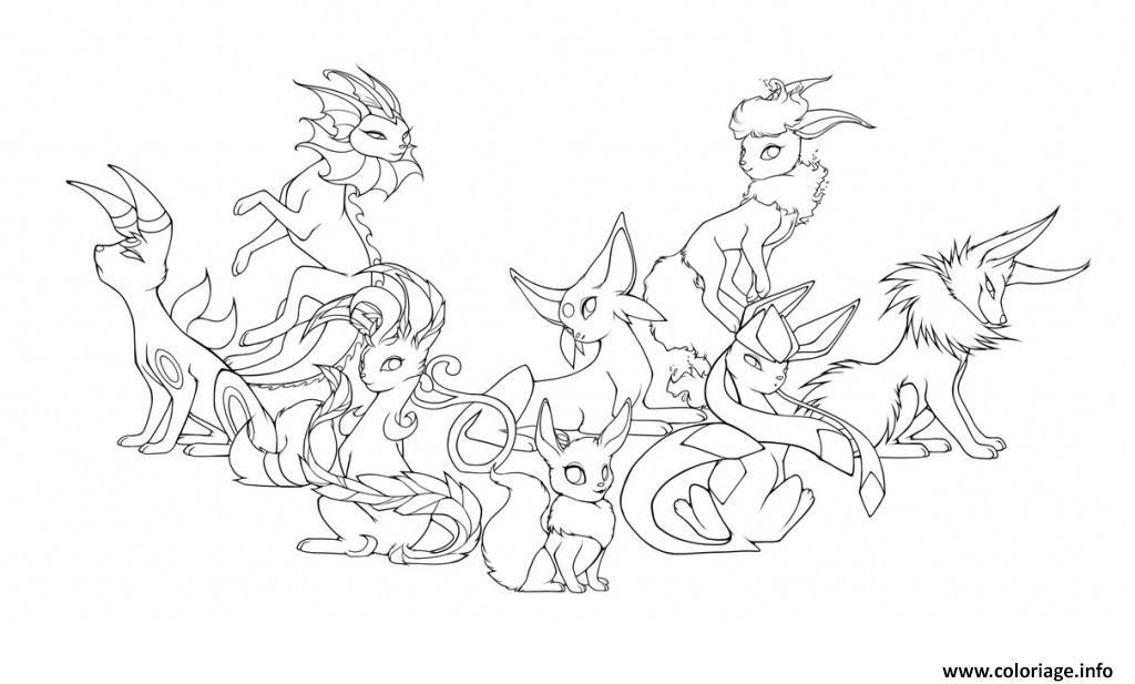 Coloriage Evolution Pokemon.Coloriage Pokemon Eevee Evolutions Mega Dessin