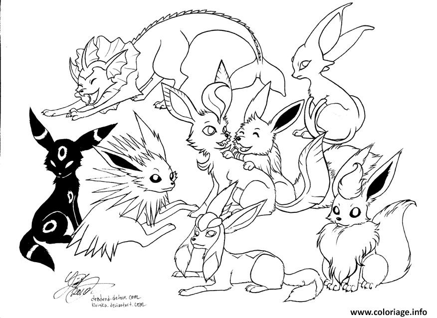 coloriage pokemon eevee evolutions