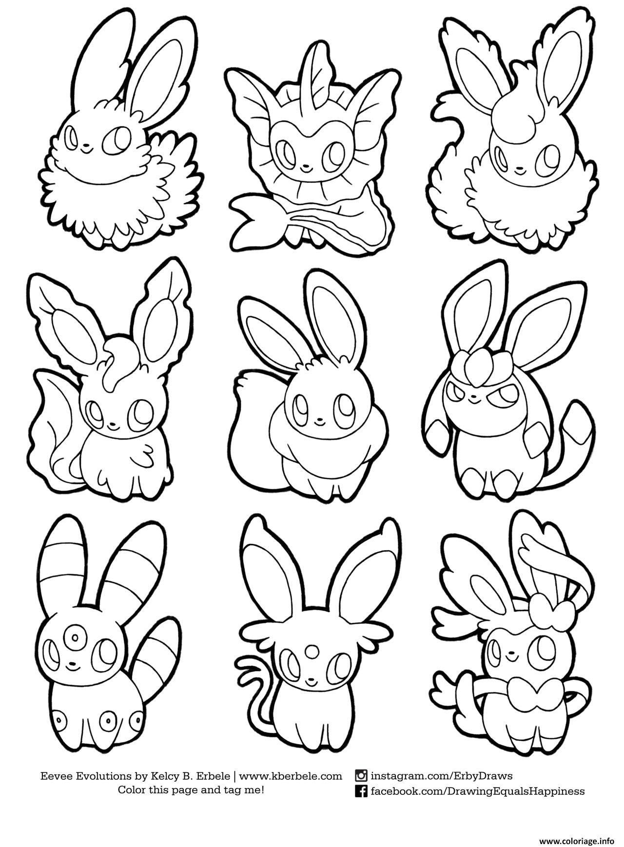 Coloriage Pokemon Eevee Evolutions List Dessin
