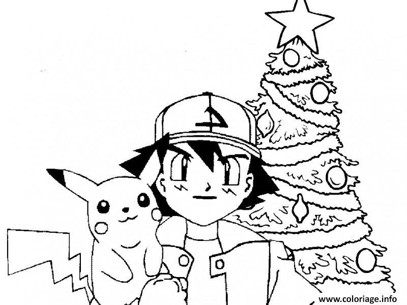Coloriage Pikachu Pokemon Noel dessin