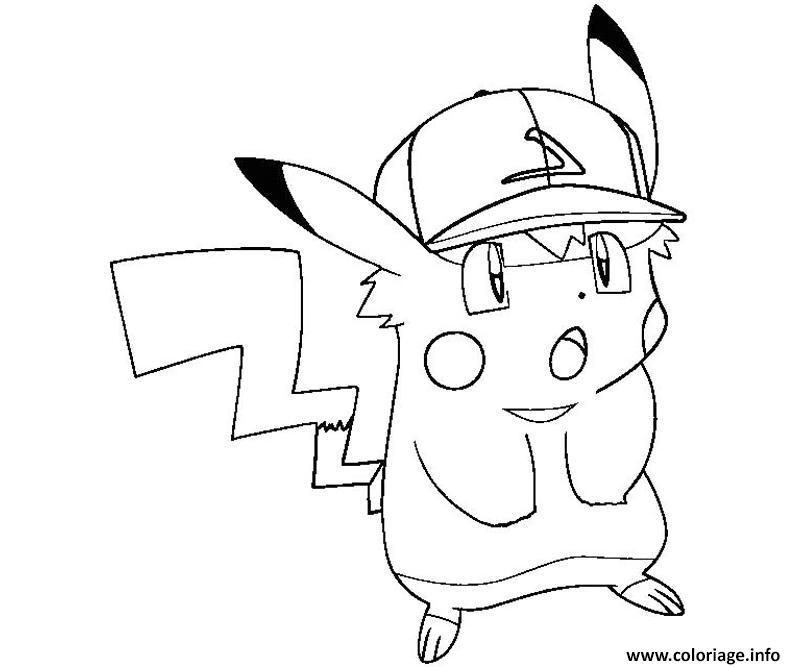 Coloriage Pikachu Swag Casquette Dessin