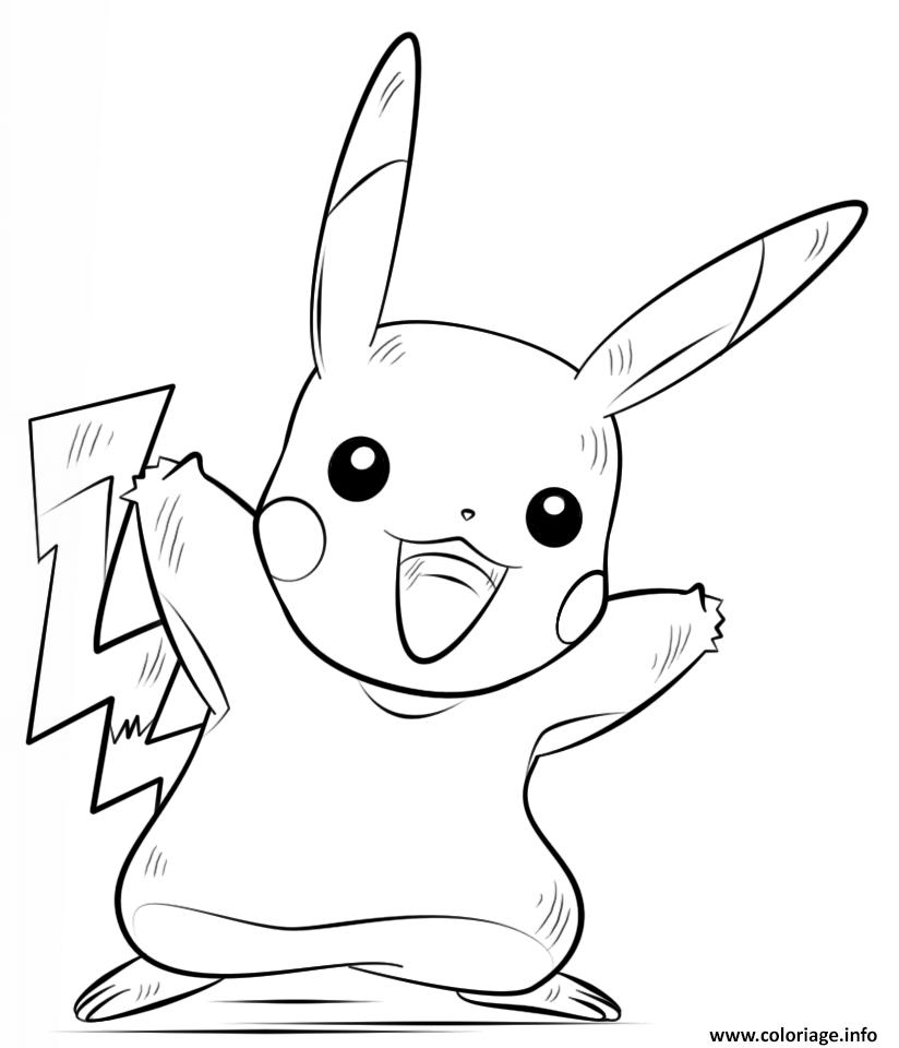 Coloriage pikachu pokemon dessin - Pikachu a imprimer ...