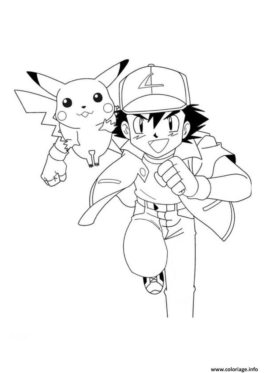 Coloriage pokemon ash and pikachu sd5a0 JeColorie