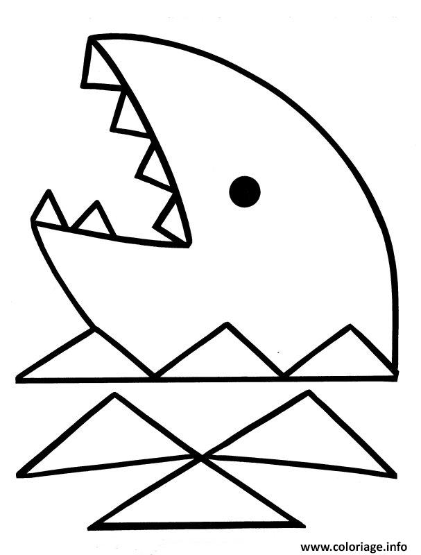 Coloriage requin facile 7 dessin - Requin en dessin ...