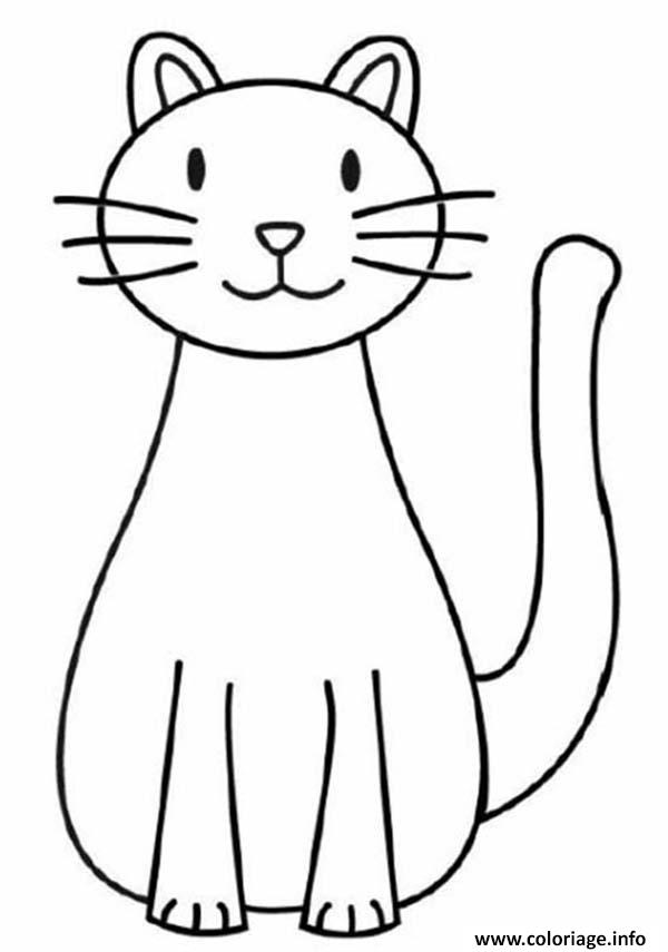 Coloriage chat facile 142 dessin - Modele dessin chat facile ...