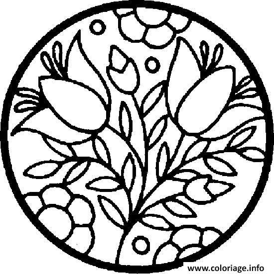 Coloriage Mandala Fleur Facile 90 Dessin