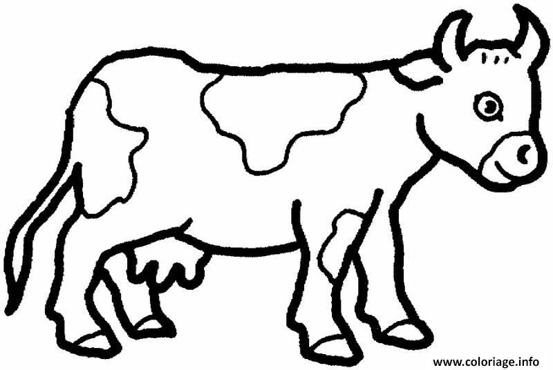 Coloriage vache facile 80 - Dessin vache facile ...