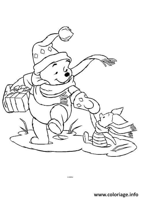 Dessin winnie the pooh disney noel 11 Coloriage Gratuit à Imprimer