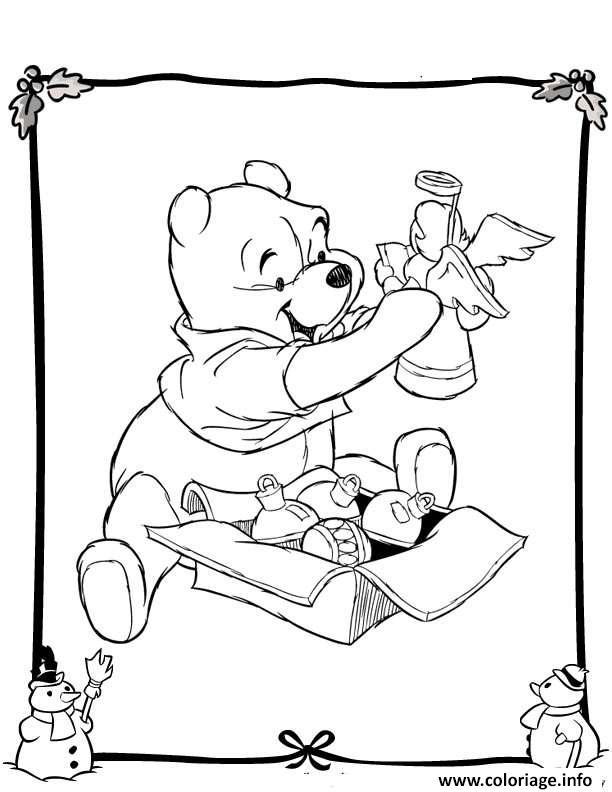 Dessin winnie the pooh disney noel 4 Coloriage Gratuit à Imprimer