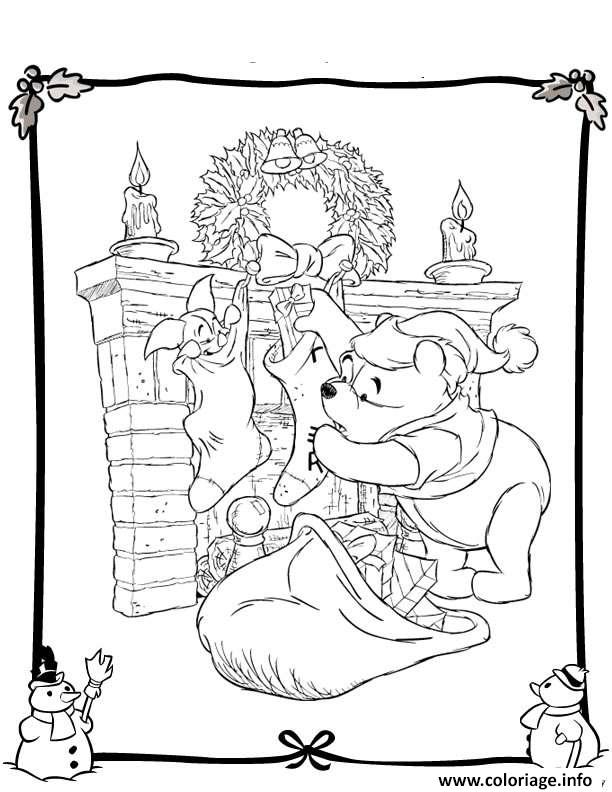Dessin winnie the pooh disney noel 2 Coloriage Gratuit à Imprimer