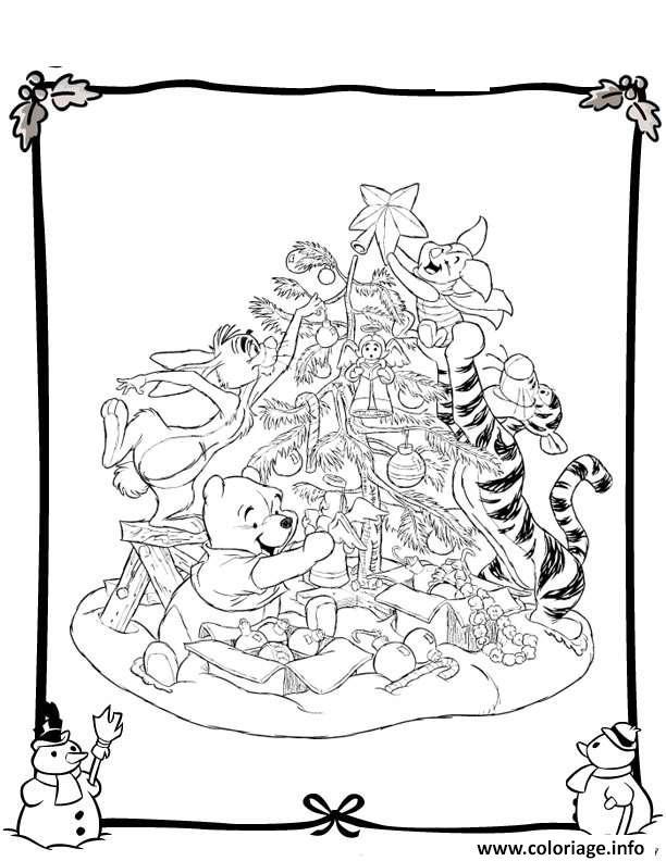 Coloriage Winnie The Pooh Disney Noel 6 Dessin