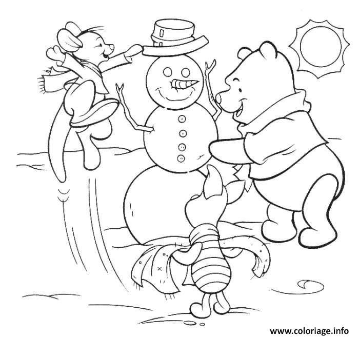 Dessin winnie the pooh disney noel 7 Coloriage Gratuit à Imprimer
