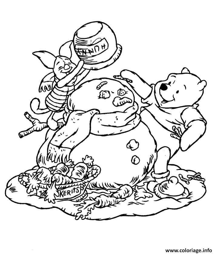 Coloriage Winnie The Pooh Disney Noel 12 Dessin