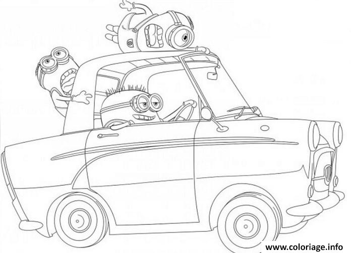 Coloriage minion de moi moche et mechant dans une voiture dessin - Dessin de moi moche et mechant ...