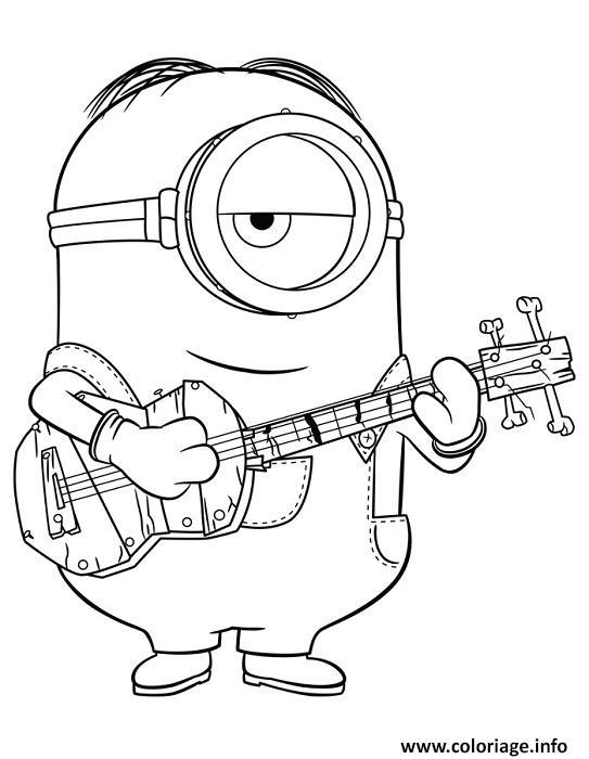 Coloriage minion de moi moche et mechant joue de la guitare - Dessin de moi moche et mechant ...
