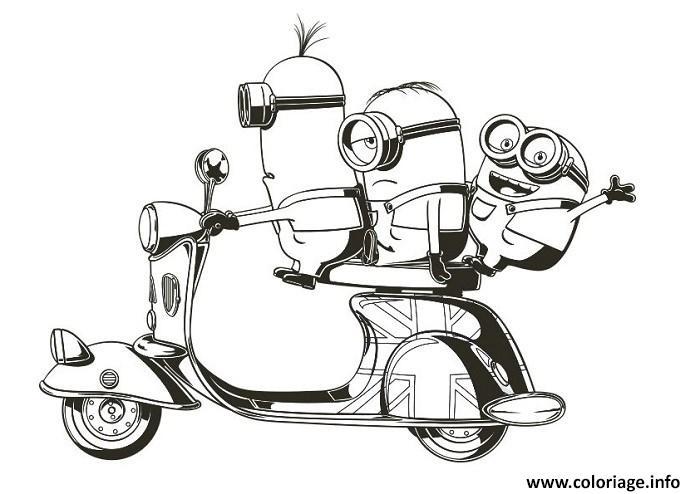 coloriage minion de moi moche et mechant sur une moto dessin. Black Bedroom Furniture Sets. Home Design Ideas