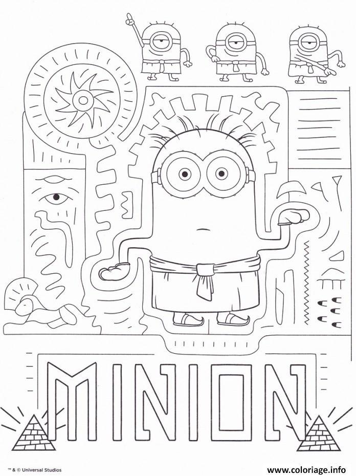 Coloriage minion en mode egypte - Minion a imprimer ...