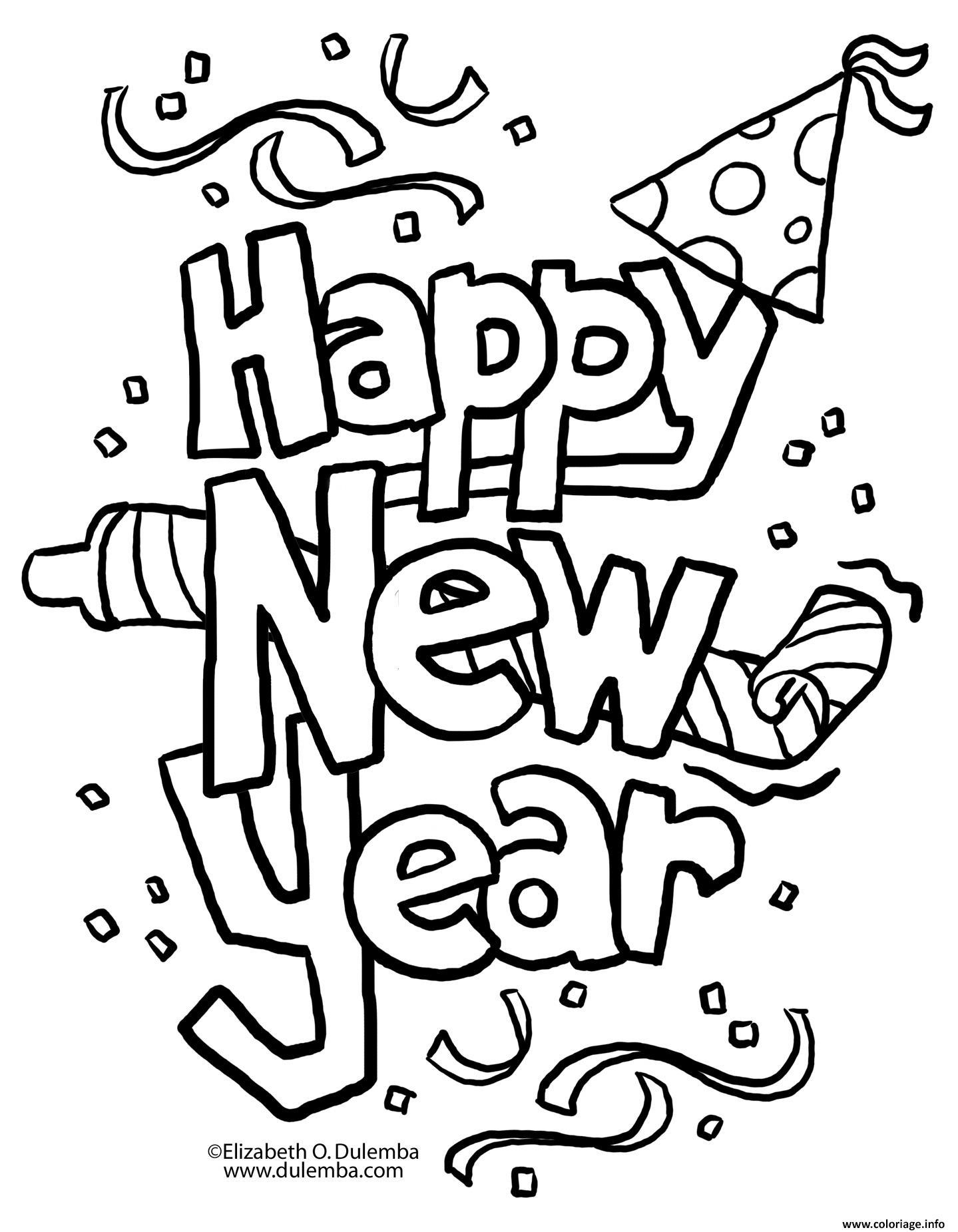 Dessin Happy New Year 4 Coloriage Gratuit à Imprimer