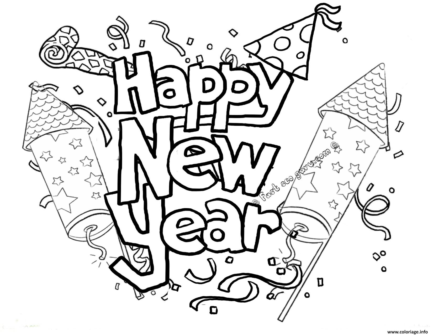 Coloriage Happy New Year Printable 2 Dessin à Imprimer