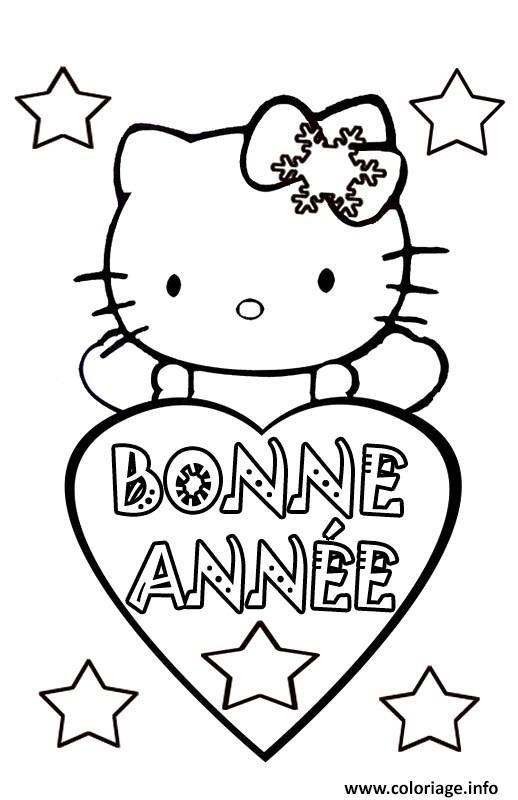 Coloriage bonne annee hello kitty - Dessiner hello kitty ...