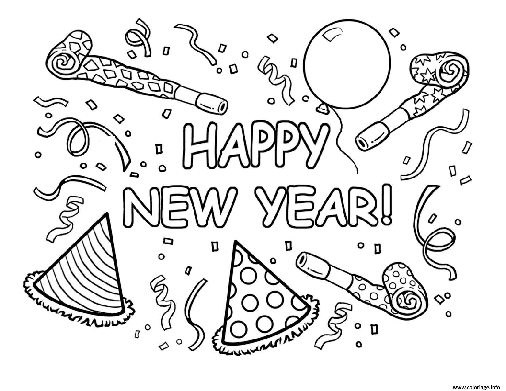 Dessin Happy New Year Printable Coloriage Gratuit à Imprimer