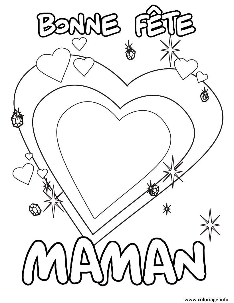 Coloriage A Imprimer Coeur Maman.Coloriage Bonne Fete Maman Coeur Dessin