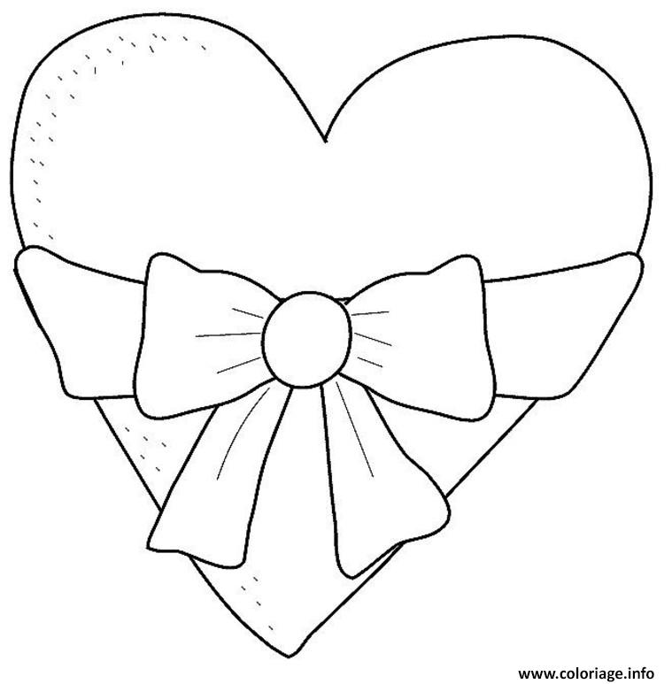 Coloriage Coeur Avec Ruban Dessin