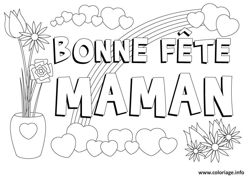 Coloriage Coeur Bonne Fete Maman Dessin Coeur à imprimer