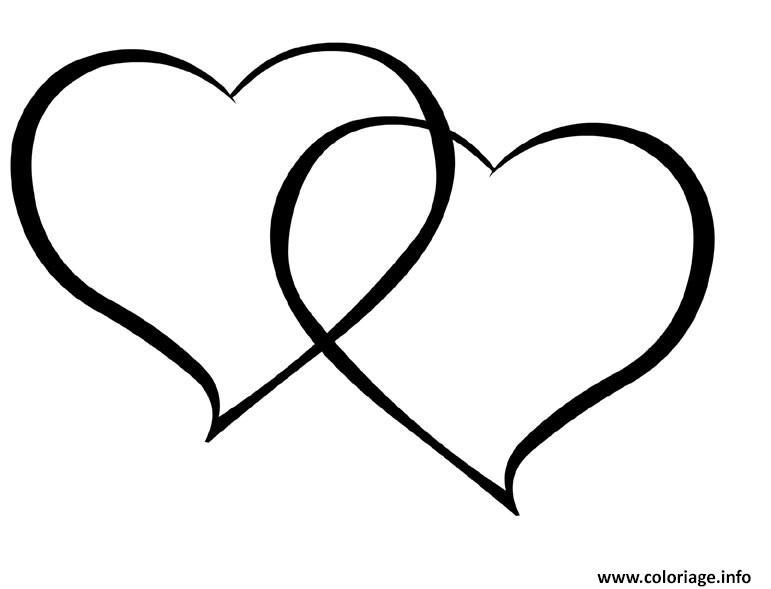 Coloriage Deux Coeurs Amoureux Dessin